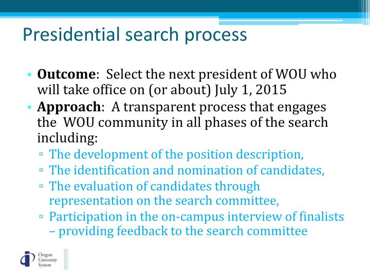 Presidential search process