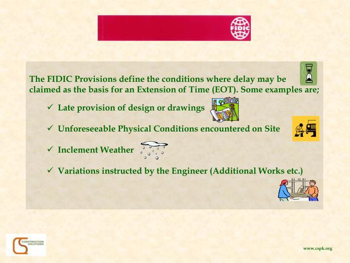 The FIDIC Provisions define