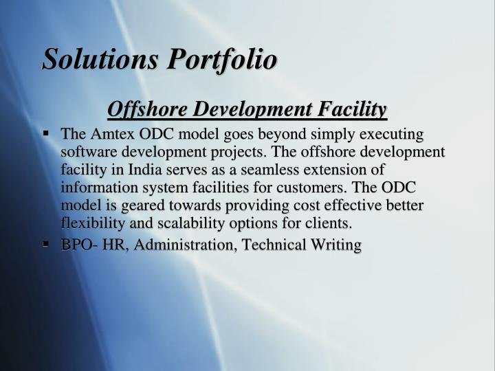 Solutions Portfolio