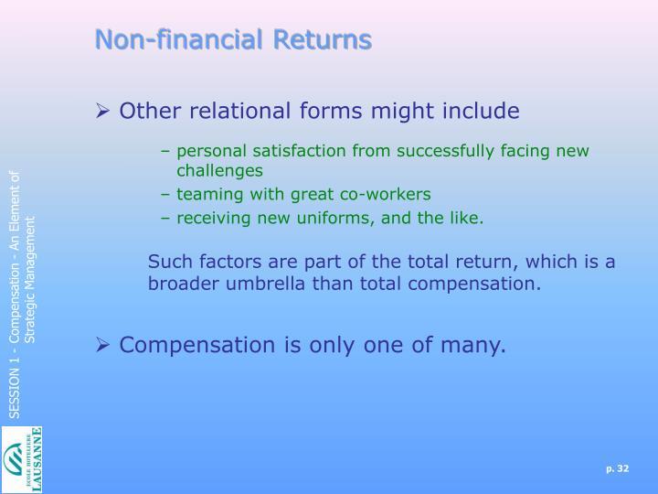 Non-financial Returns