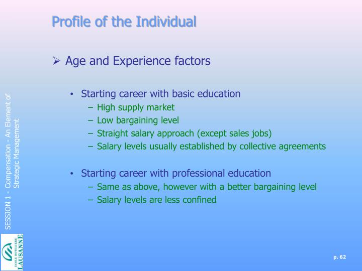 Profile of the Individual