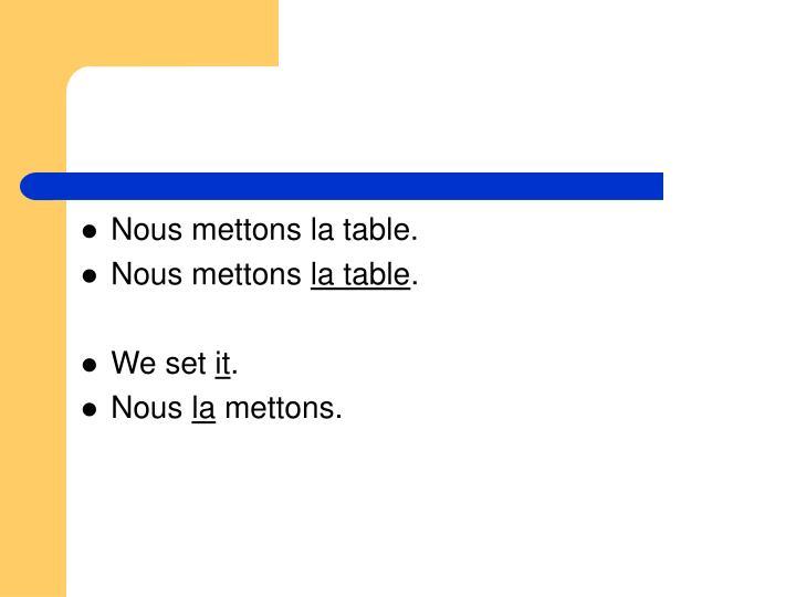 Nous mettons la table.