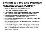 contents of a use case document alternate course of action