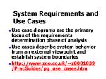 system requirements and use cases