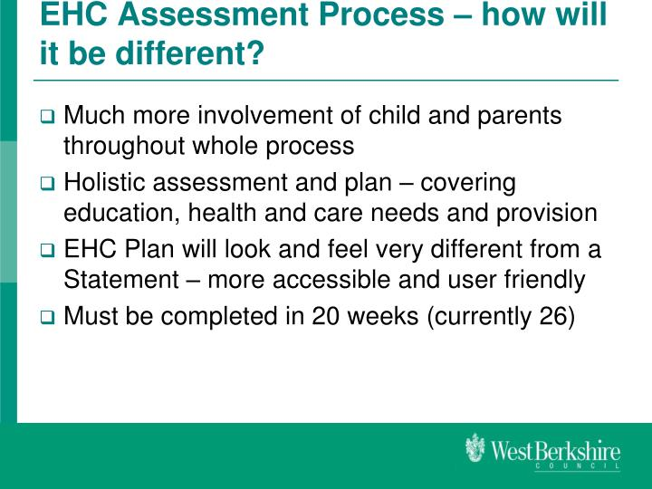 EHC Assessment Process – how will it be different?