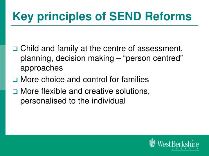 Key principles of SEND Reforms