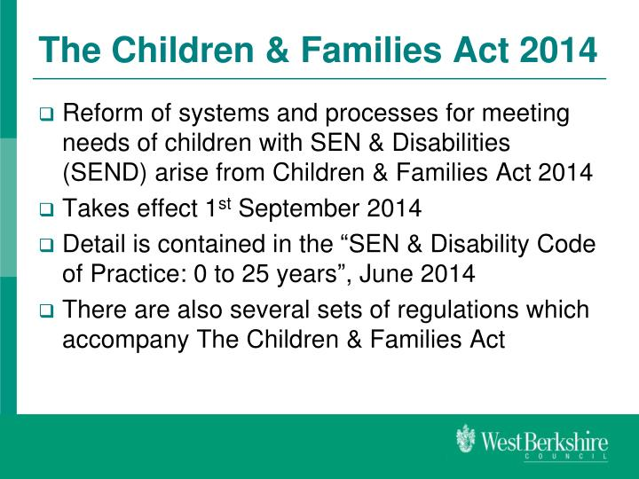 The Children & Families Act 2014