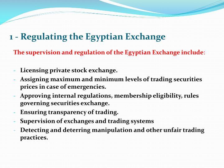 1 - Regulating the Egyptian Exchange
