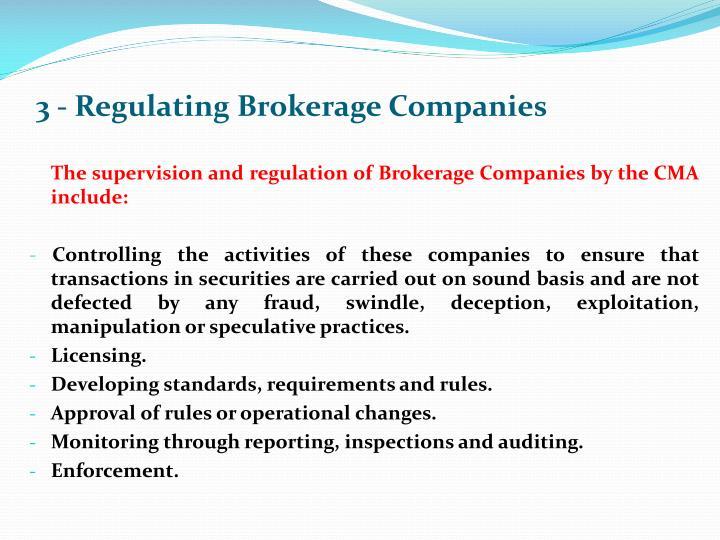 3 - Regulating Brokerage Companies