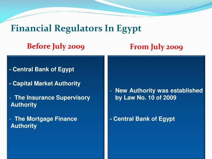 Financial Regulators In Egypt
