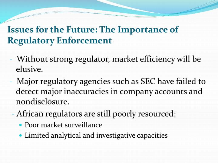 Issues for the Future: The Importance of Regulatory Enforcement