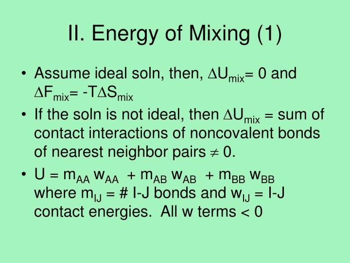 II. Energy of Mixing (1)
