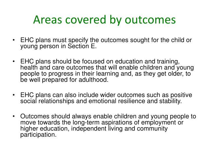 Areas covered by outcomes