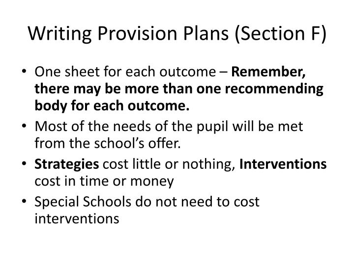 Writing Provision Plans (Section F)
