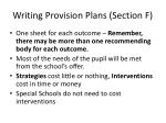 writing provision plans section f