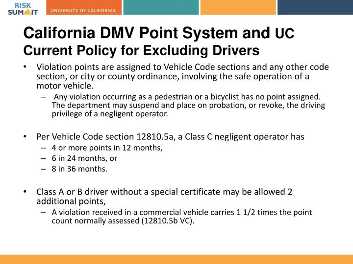 California DMV Point System and