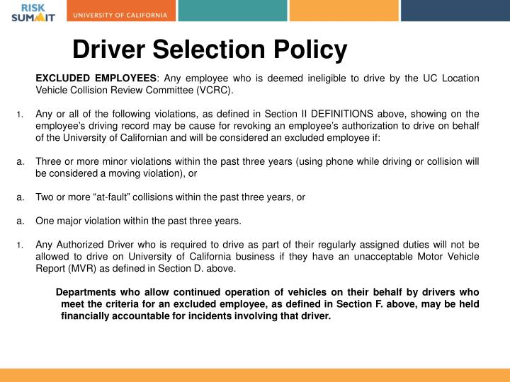 Driver Selection Policy