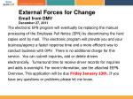 external forces for change email from dmv december 27 2011