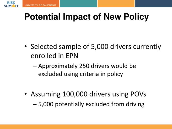 Potential Impact of New Policy