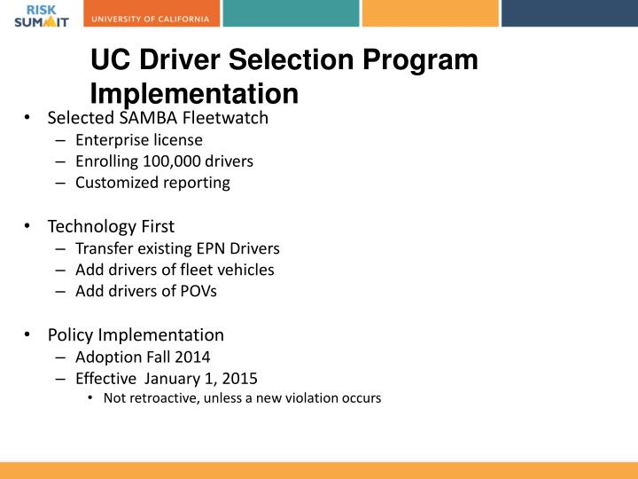 UC Driver Selection Program
