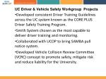 uc driver vehicle safety workgroup projects