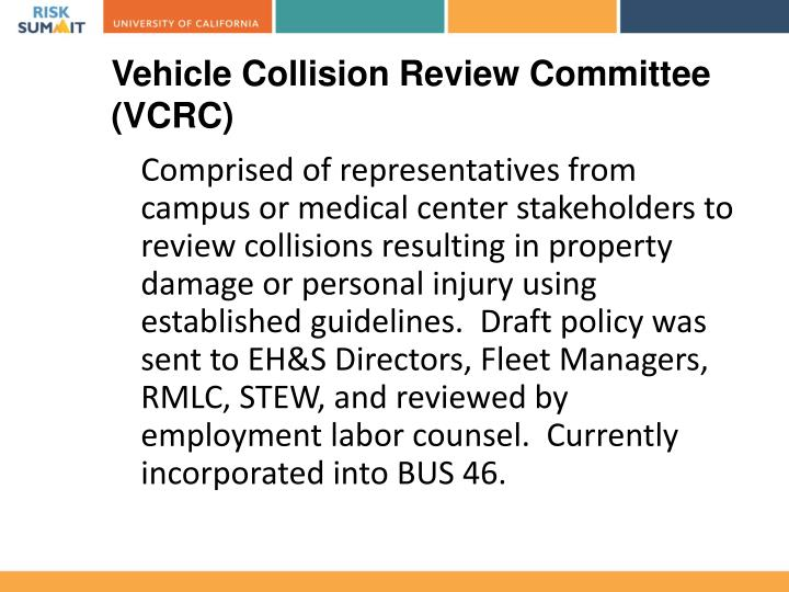 Vehicle Collision Review Committee (VCRC)