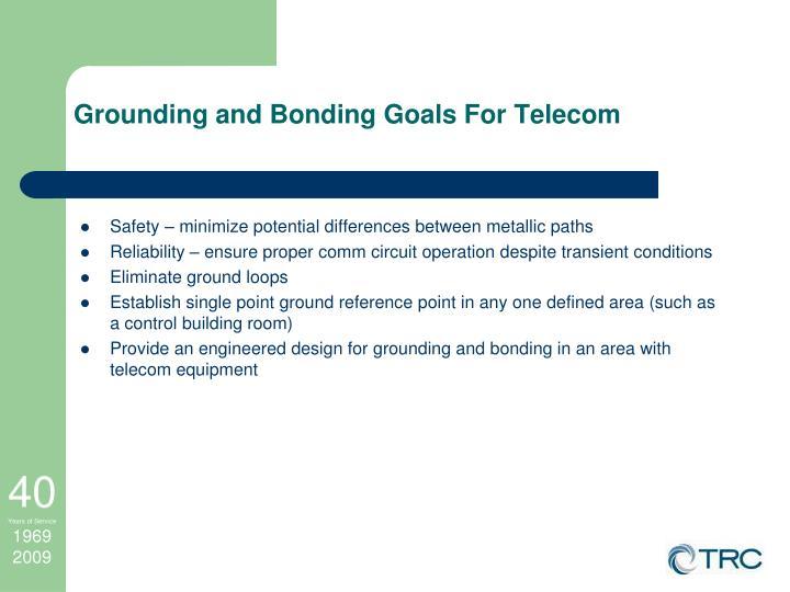 Grounding and Bonding Goals For Telecom