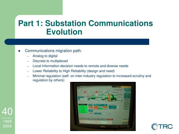 Part 1: Substation Communications Evolution
