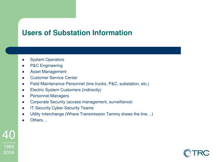 Users of Substation Information