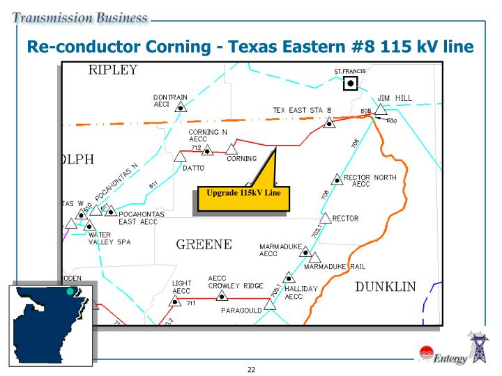 Re-conductor Corning - Texas Eastern #8 115 kV line