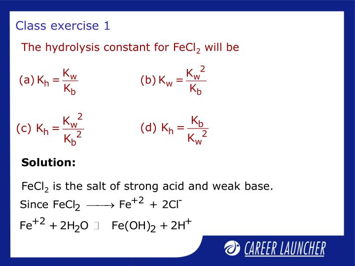The hydrolysis constant for FeCl