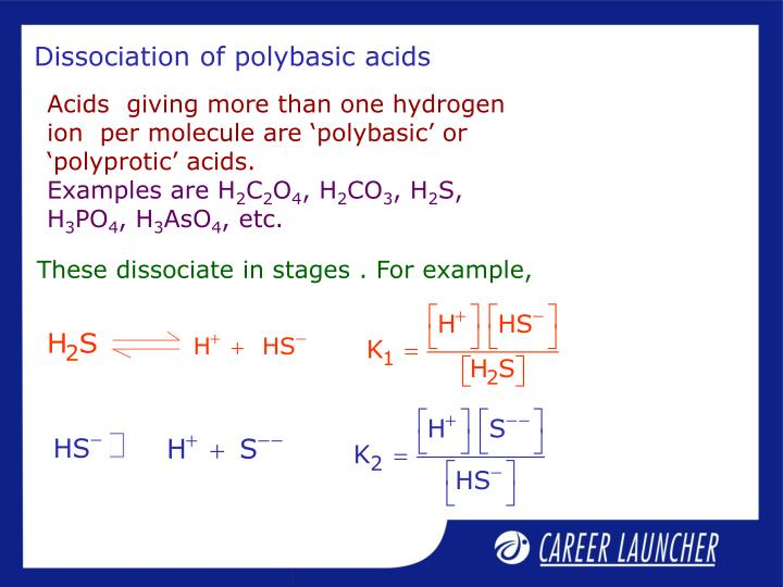 Dissociation of polybasic acids