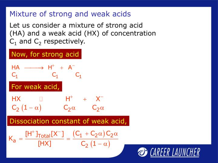 Mixture of strong and weak acids