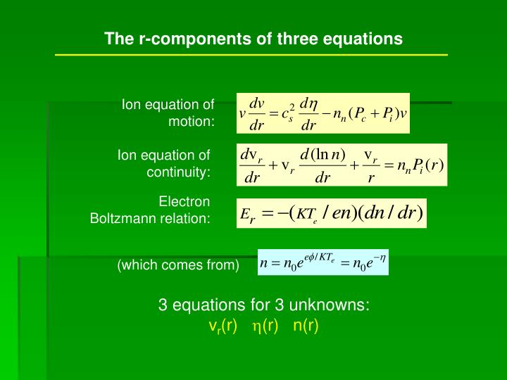 The r-components of three equations