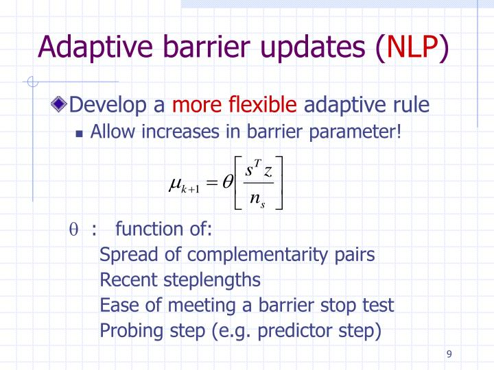 Adaptive barrier updates (