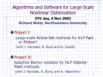 algorithms and software for large scale nonlinear optimization