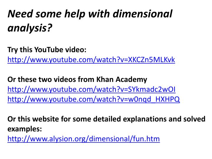 Need some help with dimensional analysis?