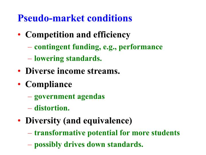 Pseudo-market conditions