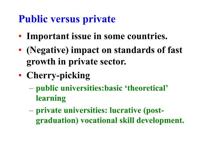 Public versus private