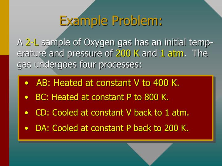 AB: Heated at constant V to 400 K.