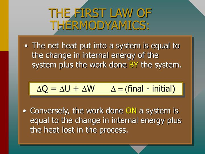 THE FIRST LAW OF THERMODYAMICS: