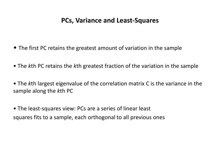 PCs, Variance and