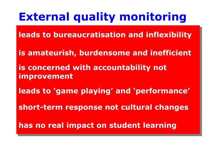 External quality monitoring