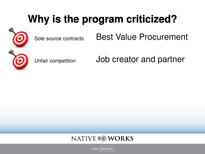 Why is the program criticized?