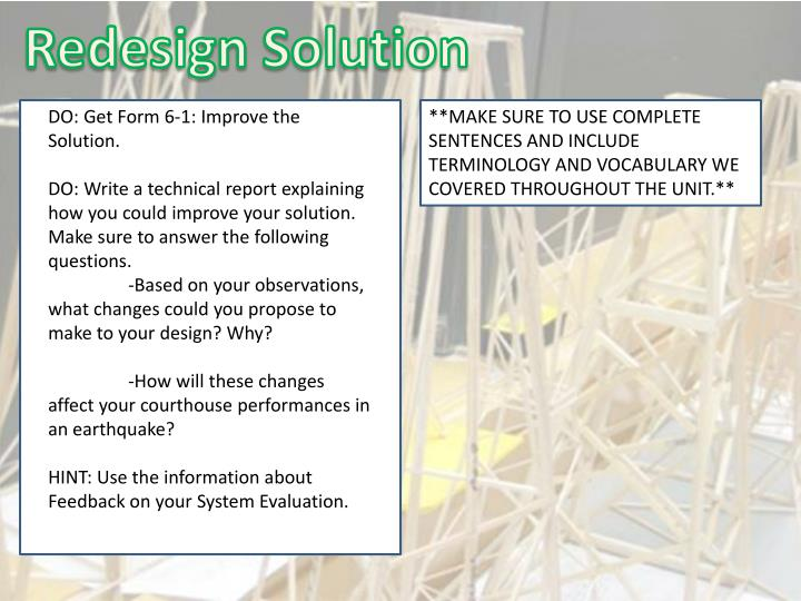 Redesign Solution