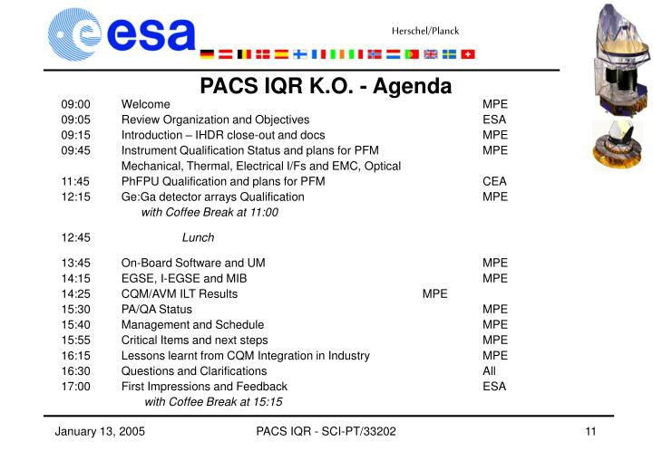 PACS IQR K.O. - Agenda