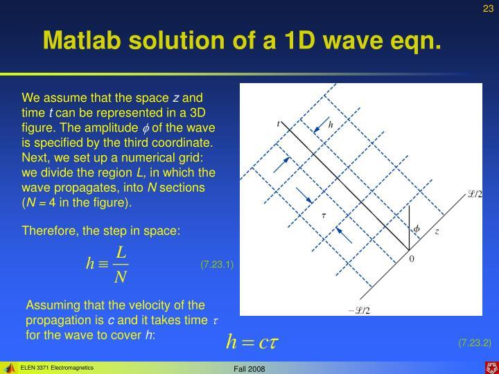 Matlab solution of a 1D wave eqn.