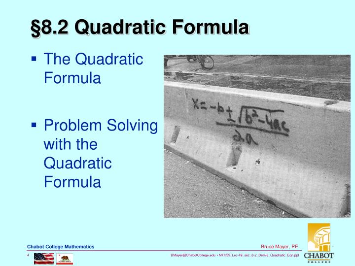 §8.2 Quadratic Formula