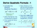 derive quadratic formula 1