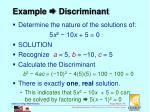 example discriminant